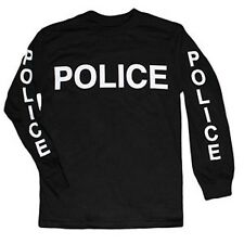 Police Two Sided Imprinted T-Shirt - Long Sleeve - Black