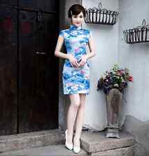 Traditional Chinese Oriental Cheongsam Cheong-Sam Qipao  white with blue flowers