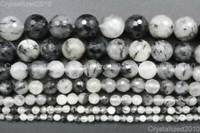 Natural Rutilated Quartz Gemstone Faceted Round Beads 6mm 8mm 10mm 12mm 15.5''