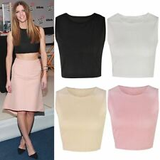 NEW WOMENS LADIES SHORT CROP BRA TOP SLEEVELESS RIBBED ROUND NECK SIZE UK 6 - 12