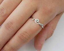 Treble Clef Rings with CZ Sterling Silver Rhodium Plated Music Note Jewelry