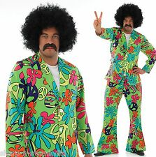 Mens 1960s 1970s Green Hippie Disco Suit Trippy Hippy Fancy Dress Costume Outfit
