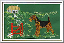 Airedale Terrier Birthday Card Embroidered by Dogmania