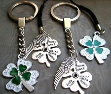 PICK YOUR Mobile Phone Keyring Keychain Four Leaf Clover Angel Wing Good Luck