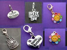 YOU PICK CHARM ~ Clip On Silver Happy Birthday Birth Day Cup Cake Tea Pot Charm