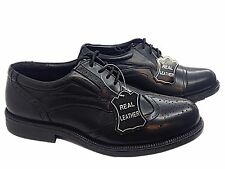 Mens Real Leather Black Smart Oxford Brogues Formal Office Work Wedding Shoes