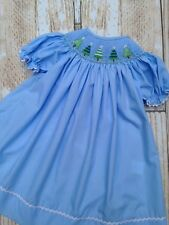 Christmas tree smocked girl bishop dress holiday New boutique 12m - 5T