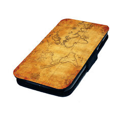 Vintage Map of the World - Printed Faux Leather Flip Phone Cover Case Olde
