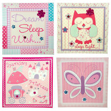 Girls Bedroom Canvas Collection Pink Princess Butterfly Owl Prints 30x30cm