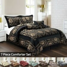 Jacquard 7 Piece Luxury Bedspread comforter set with Matching Cushion Cover