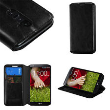 Black Leather Card Holder Wallet Protector Phone Case AT&T T-Mobile Sprint LG G2