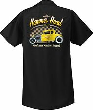 Hot Rod Mens Black Retro Mechanic Work Shirt American Graffiti  Small to 6XL Big