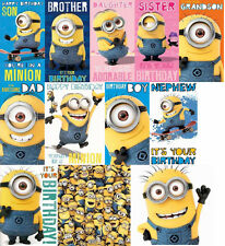DESPICABLE ME BIRTHDAY CARDS AND GIFT WRAP DAUGHTER SON BROTHER NEPHEW MINION