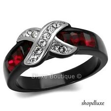 1.50 CT RUBY RED & CLEAR CZ BLACK STAINLESS STEEL FASHION RING WOMEN'S SIZE 5-10