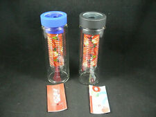 AdNArt Flavour It Glass Water Bottle with Fruit Infuser Blue or Black Lid