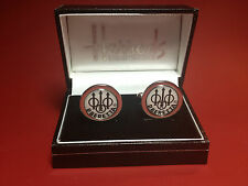 BROWNING, BERETTA & ANSCHUTZ SILVER PLATED CUFF LINKS IN HARRODS DISPLAY CASE