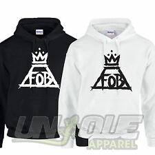 FOB FALL OUT BOY HOODED TOP HOODIE SWEATER MUSIC BAND TOUR ROCK INDIE PUNK CROWN