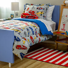Kids Boys Race Car Blue Gray Red 4 or 3-PC Comforter Set TWIN or FULL Gorgeous