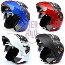 Motorcycle Helmet Dual Visor Modular Flip Up Sun Shield Full Open Face