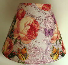 Vintage Rose Lilac Lampshade shabby chic french music script  butterfly