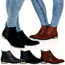 Joanne Womens Flat Pull On Chelsea Ankle Boots Gold Heel Detail Ladies Shoes D2Y