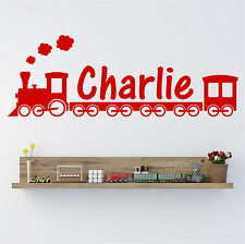 TRAIN CARRIAGES Personalised ANY NAME Boys Bedroom Nursery Wall Art Sticker F18