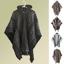 GREY HANDMADE LLAMA WOOL MENS CAPE PONCHO COAT JACKET WITH HOOD ECUADOR JEDI
