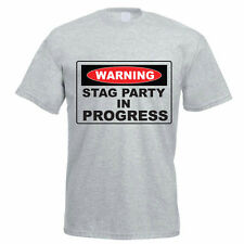WARNING STAG PARTY IN PROGRESS - Novelty / Funny / Gift Themed Mens T-Shirt