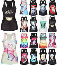 Women's Graffiti Pattern Tank Tops Vest Blouse Gothic Punk Singlet Hippie Shirt
