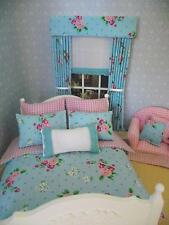 MINIATURE DOLLS HOUSE 12TH SCALE DOUBLE SHABBY CHIC BEDDING SET 6PCE