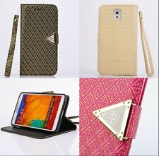 Fashion Wallet Wrist Band Flip Leather Magnetic Case Cover for Samsung Galaxy