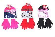 New kids Girls Hello Kitty Hat And Gloves Set Pink Black Navy AGES 2-4 4-8 YEARS