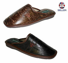 Mens Dunlop Casual Slippers Mule Warm Brown Faux Leather Padded Sock Comfort