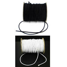 Round Black or White Hat Elastic Cord 1mm wide - 100 metre roll