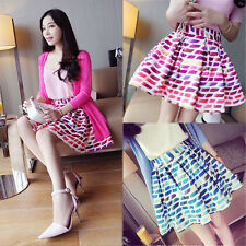 Fashion Women Sexy Vintage Rainbow Pleated Skater High Waist Summer Short Skirt