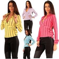 New Ladies Collared Stripy Long Sleeve Skirt Side Tie Wrap Shirt Top 8-14