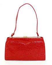 Red Patent Leather Faux Croc Handbag Purse - Retro Inspired Scarlett by Folter