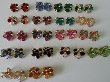 Flower Earrings 18 Colors LARGE Post or Clip Made With Swarovski Crystals