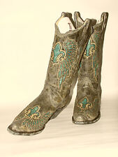 Womens Corral Grey-Black Western Fashion Boots Turquoise Fleur-de-Lis R2337