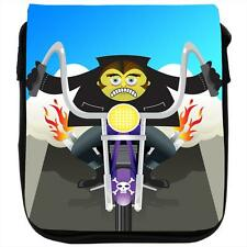 Zombie Monster Riding Motorcycle Flaming Exhaust Black Shoulder Bag