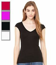 Ladies Fit Deep V Neck T-Shirt Womens Cap Sleeve Fitted Summer Fashion Top New