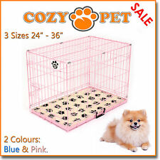 Dog Cage in Pink or Blue with Vet Bed Cozy Pet Dog Crate Puppy 3 Sizes Cat Crate