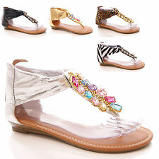 LADIES WOMENS SUMMER SANDALS HOLIDAY TOE POST FLAT FASHION JEWEL SHOES SIZE
