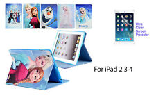 Screen Protector/Frozen Snow Queen PU Leather cover case for iPad 2 3 4