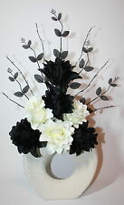 Artificial Silk Flower Arrangement Black Cream Flowers in Vase With Leaf Spray.