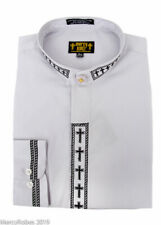 NEW Men's Gray w/Black Cross Embroidery Neckband Clerical Clergy Shirt, Pastor