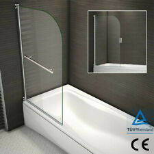 Aica 180° Pivot Chrome Bath Shower Screen Easyclean Glass Door panel 800x1400mm