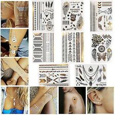 Metallic Temporary Tattoos Flash Gold Silver Black Jewelry Inspired Stickers