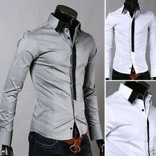 Mens Blendent Edge Casual Slim Fit Long sleeved Button Down Dress Shirts