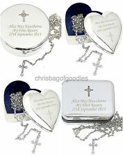 PERSONALISED TRINKET BOX and Cross ROSARY BEADS Necklace Gifts for Goddaughter